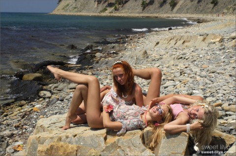 Sweet-Lilya-nude-erotic-teen. Sweet Lilya Friends - Fun on the beach